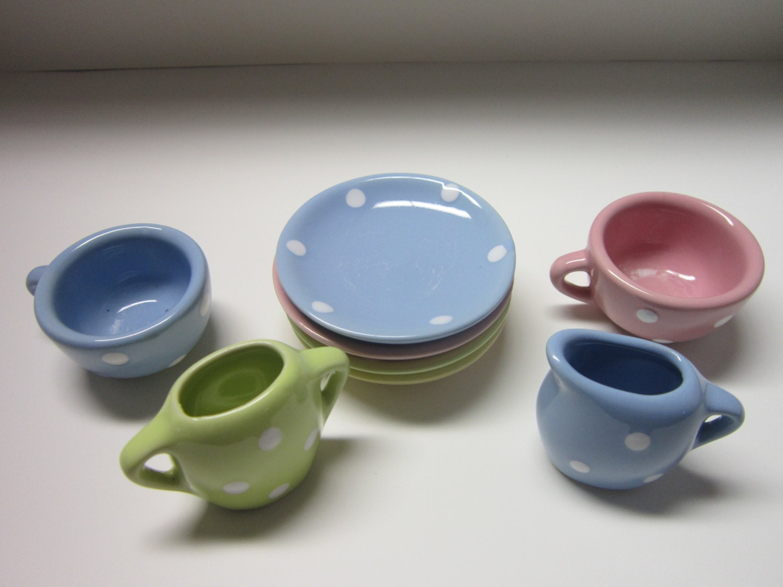 vintage mini tea set schylling fiesta ware   by priormemories