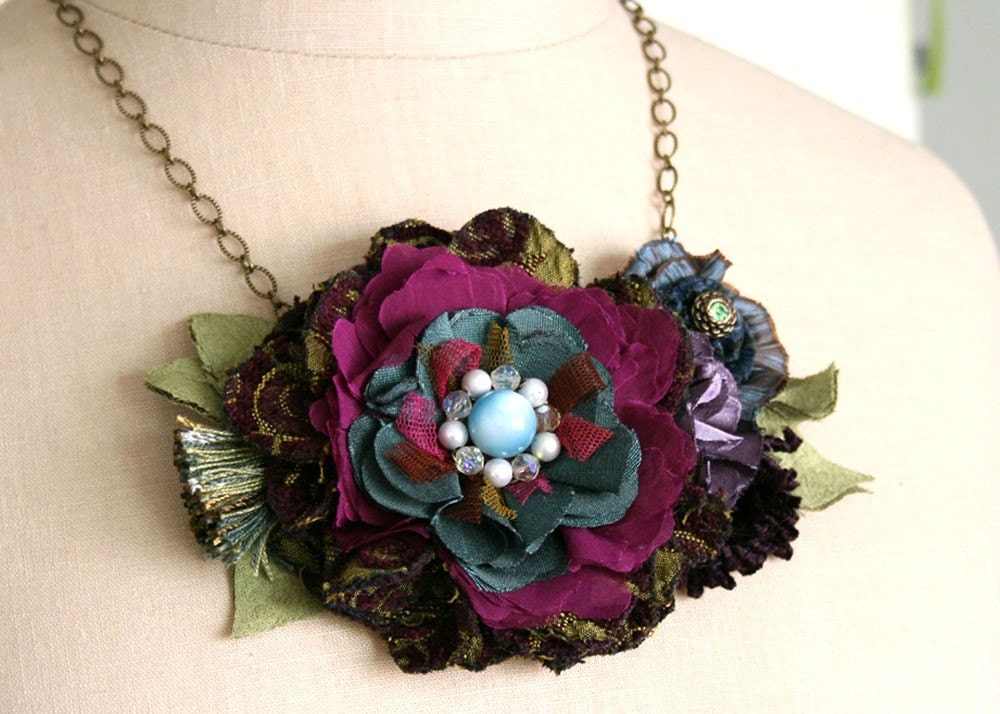 Purple, Teal and Blue Flower Statement Necklace Peacock Colors
