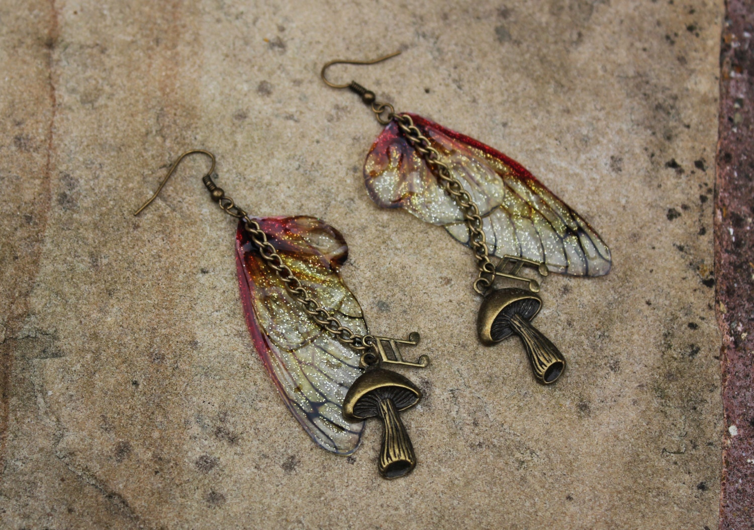 Woodland Amber ButterflyFairy Wing Earrings  Toadstool and Music Note