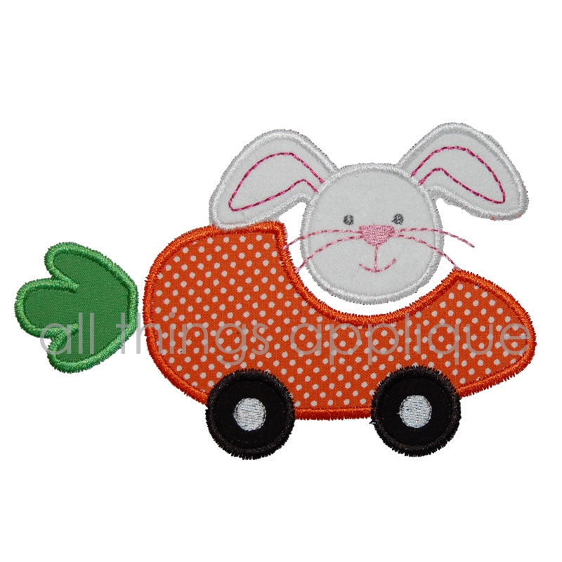 Machine embroidery design carrot car easter by