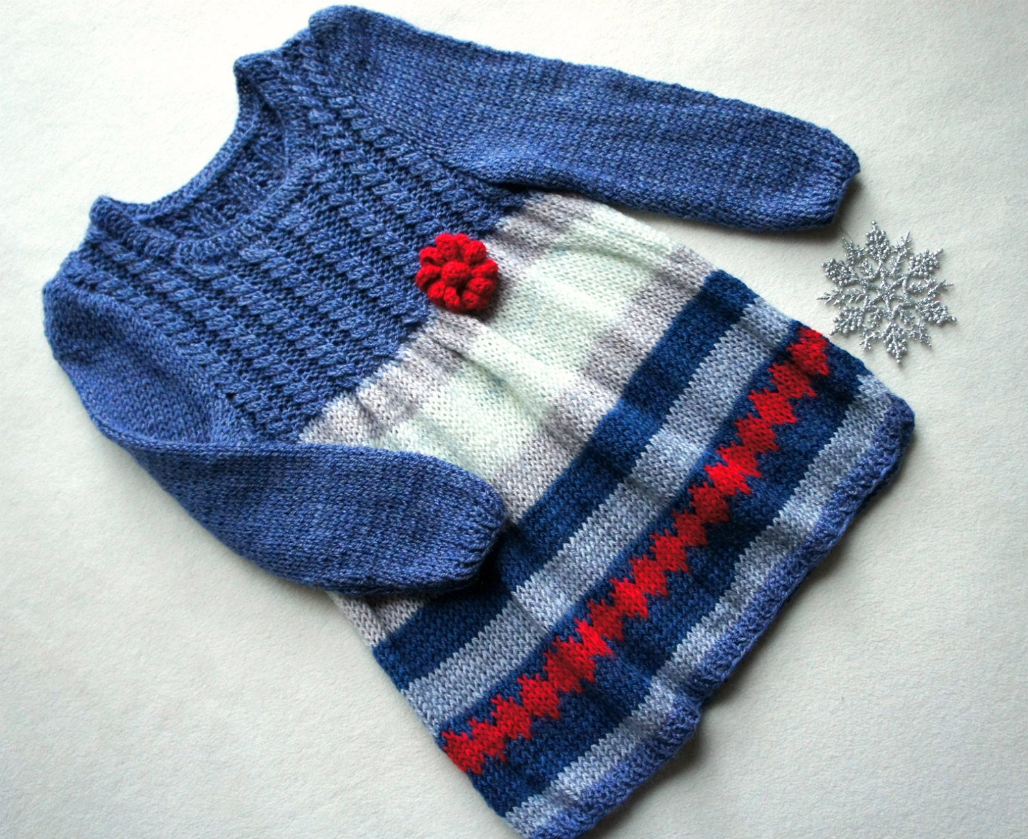 Baby knit dress hand knitted girls dress blue cream and red baby dress