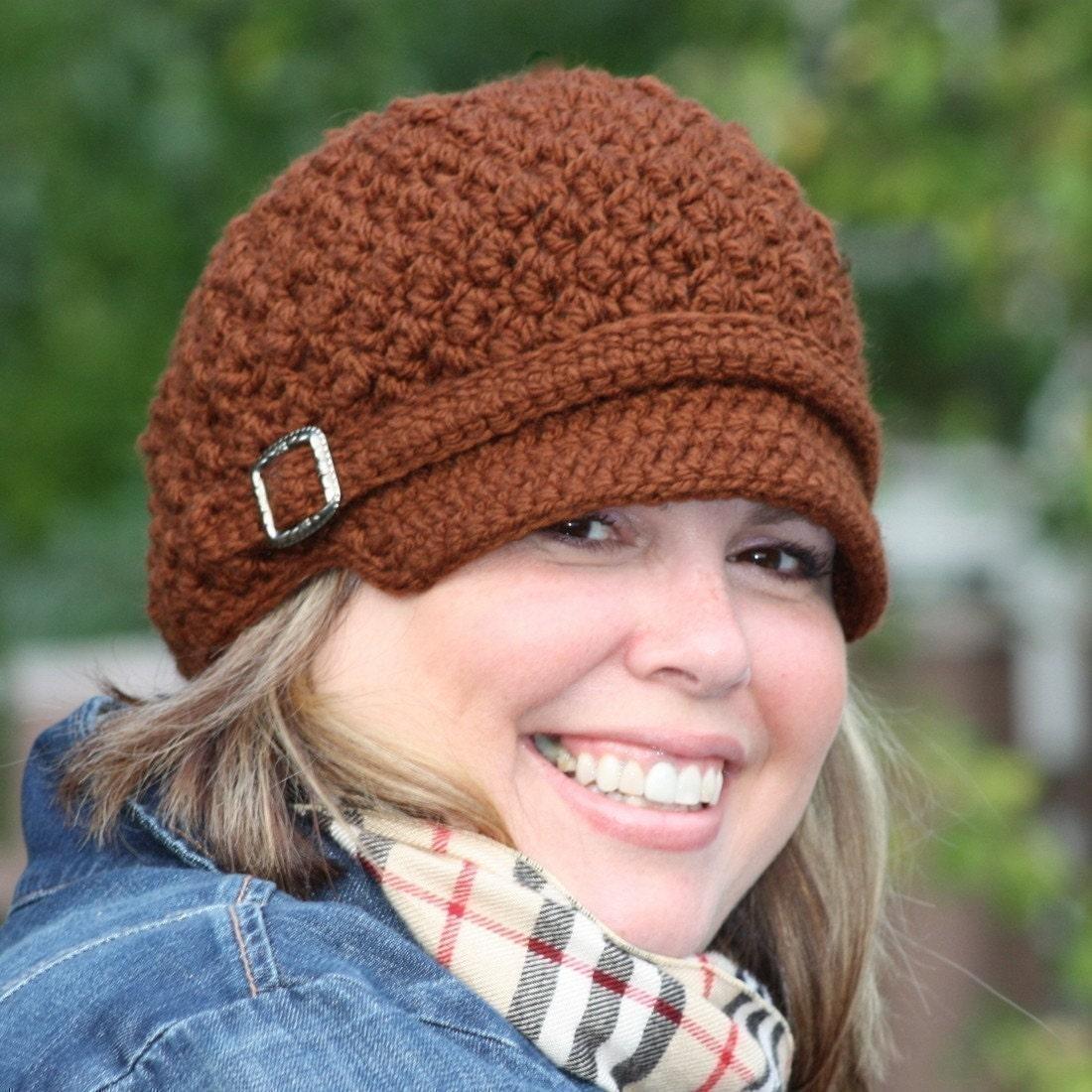 Free Crochet Pattern For A Newsboy Hat : CROCHET PATTERN Nubby Newsboy Cap 6 Sizes by ...