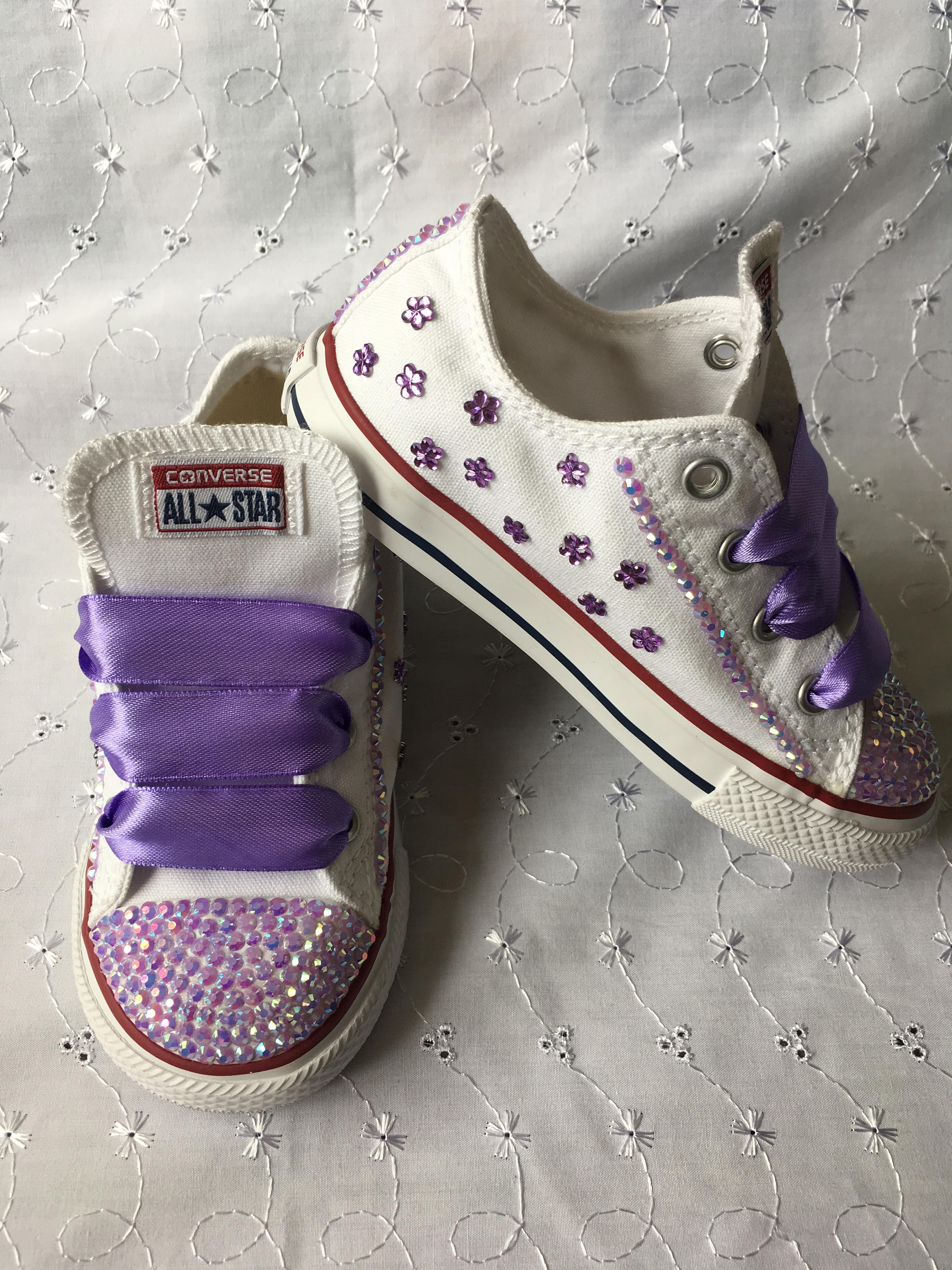 Bling  Customised Purple Flowers JuniorKids CONVERSE ALL STAR Trainers 11 12 13 1 2
