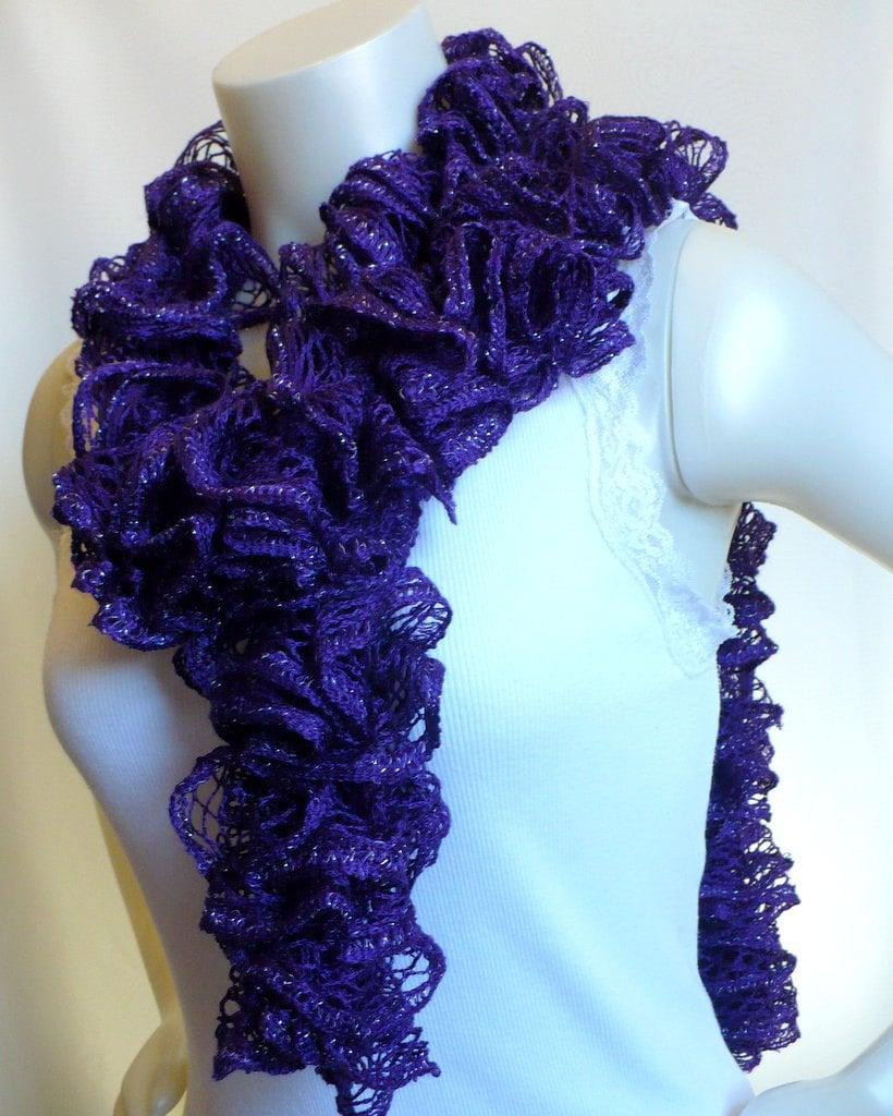 Purple Ruffle Scarf, womans fashion scarf, ruffled boa, knitted scarf