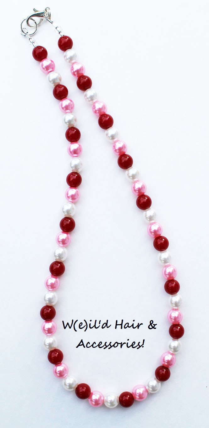 Valentine's Day Red White Pink Dainty Pearls Necklace - Love - Cupid - Heart - Holiday - Bubblegum Beads - Child - Photo prop, photography - WeildHairAccessories