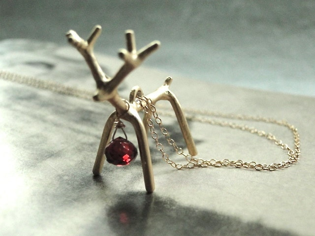 HOLIDAY SALE - Jewelry, Necklace, 14k Gold Filled Chain, Reindeer Necklace, Gift for Her, Holiday Gift - wulfgirl