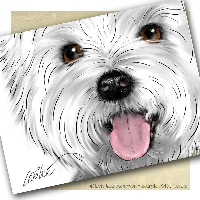 3 westie west highland white terrier art by starglowstudio on etsy