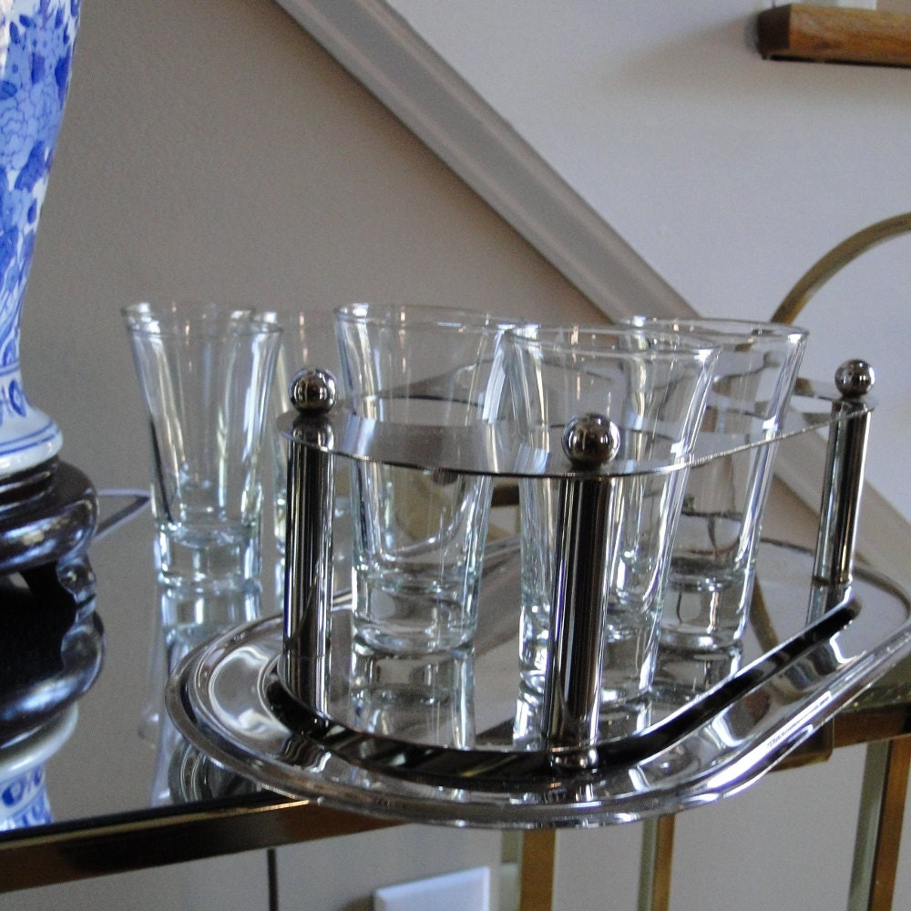Classic Vintage French 55 Square Two Tier Brass Glass: Vintage Tray Shot Glass Set Chrome Shot Glass By