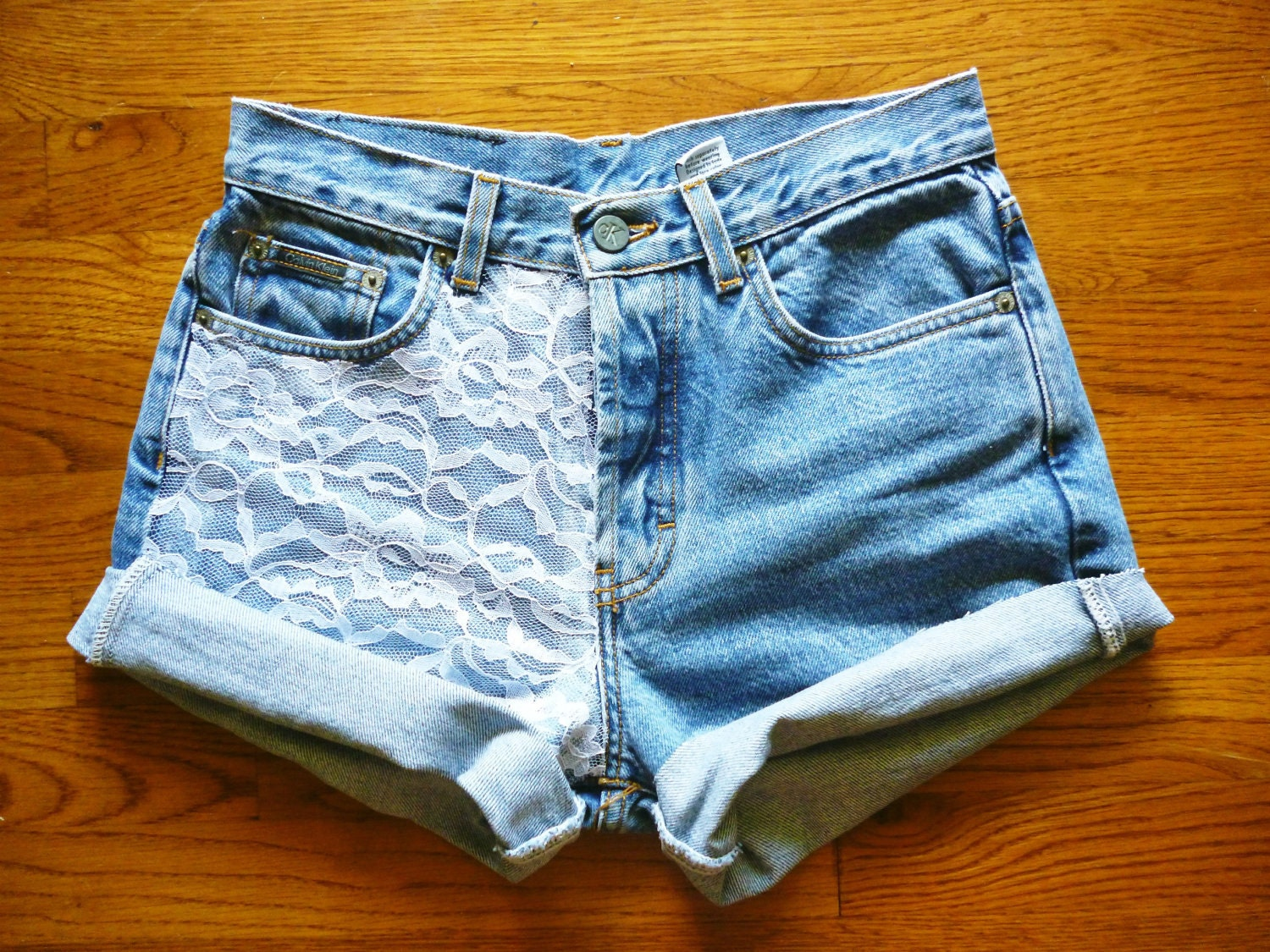 vintage high waisted lace accented jean shorts by. Black Bedroom Furniture Sets. Home Design Ideas