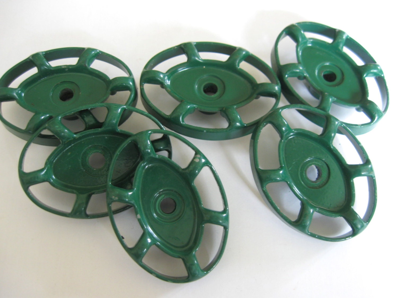 6 vintage faucet handles, vintage oval valve handles, green spigot ...