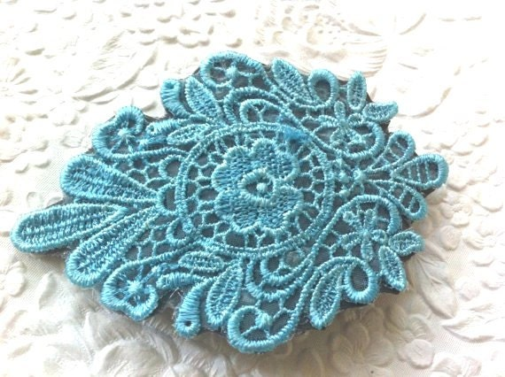 Blue/gray lace hair barrette - wedding all occasion everyday wear hair accessory all hair types