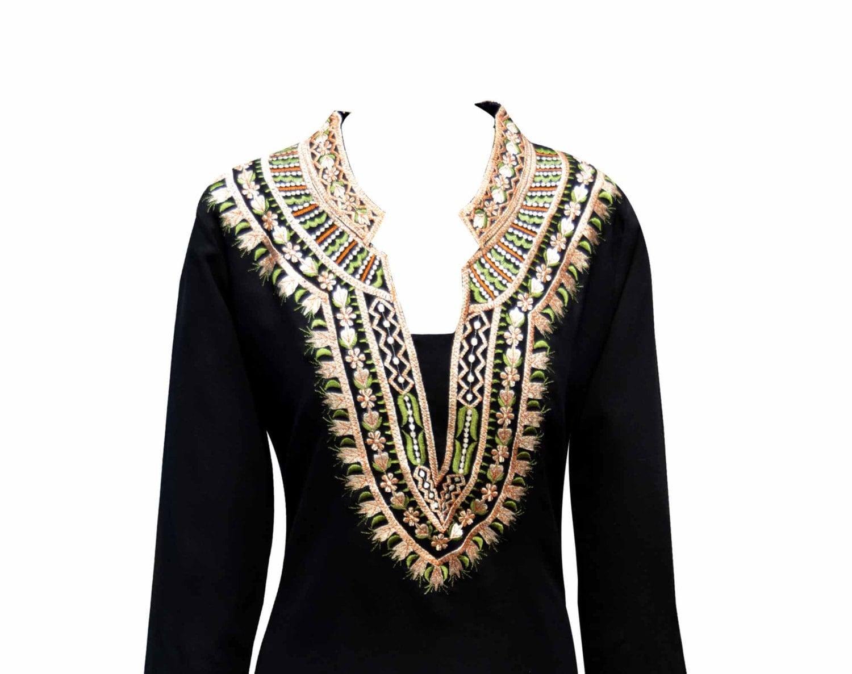 womens BLACK Indian fancy tunic Top in Georgette for Party Wear kurtis kurta online kaftan shops in Glasgow Leeds London UK 6092
