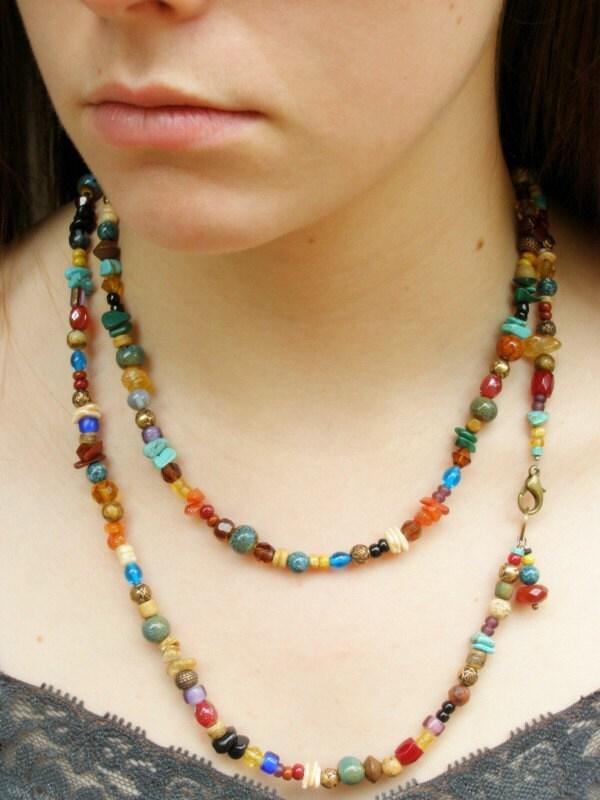 Indian Corn Multi Stone Long Necklace By Stoneweardesigns