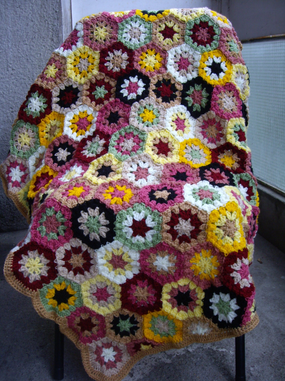 Knitting Granny Square Blanket : Granny square crochet blanket baby crib by galyakireva
