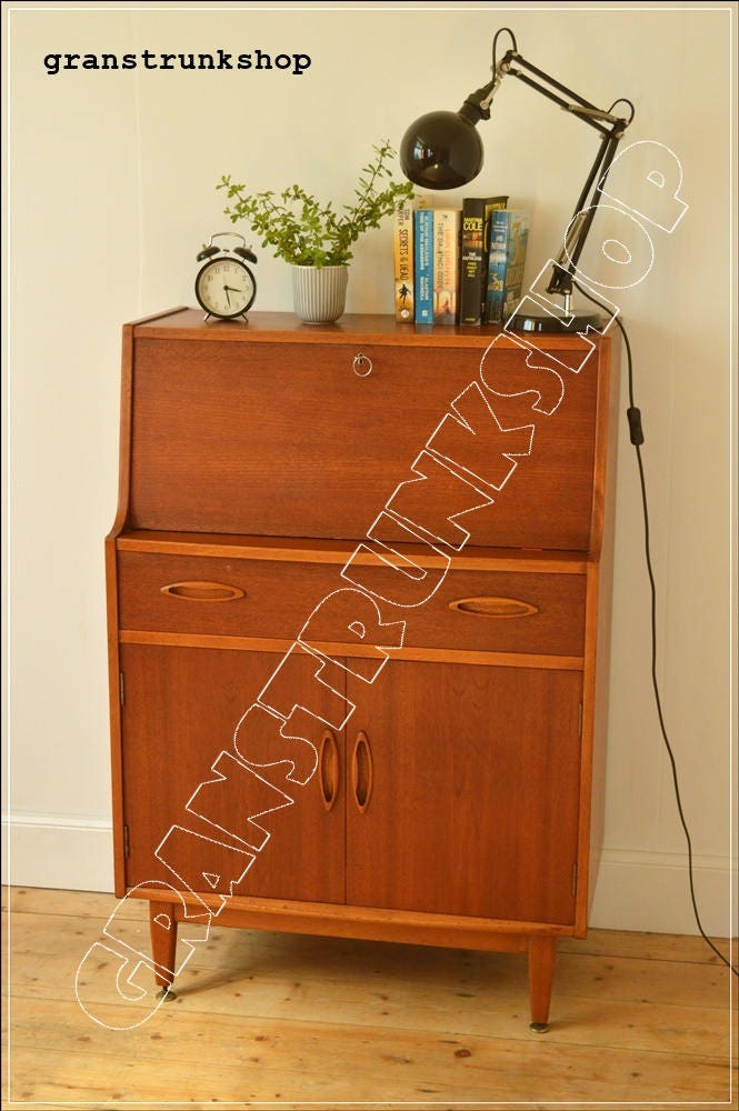 vintage bureau Jentique furniture teak writing table desk  danish design