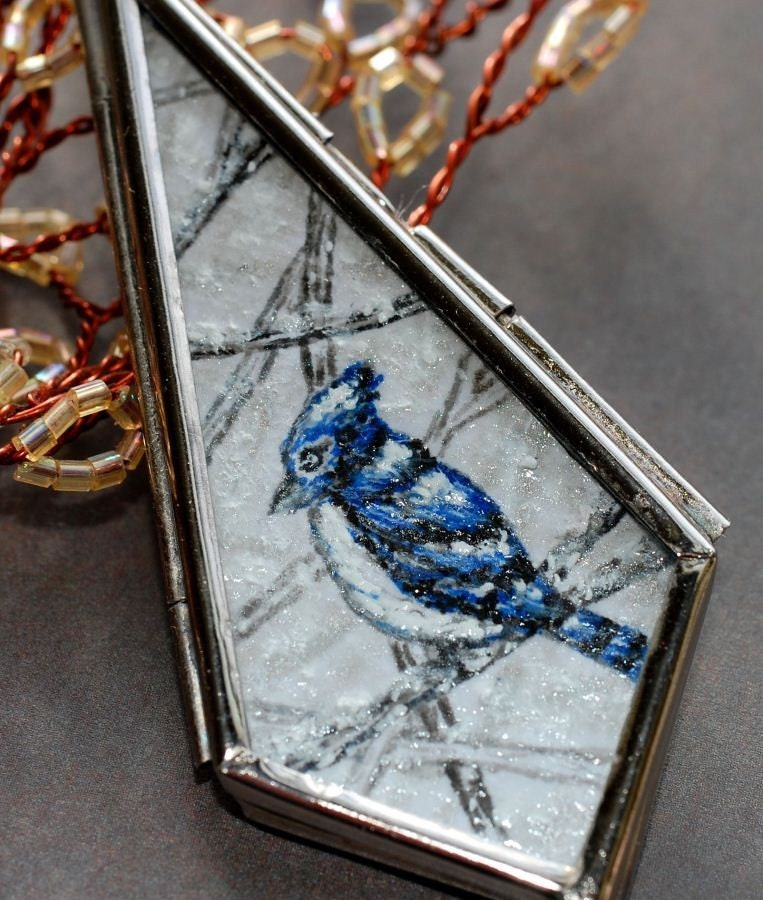 Glass Locket  Blue Jay Bird Necklace Art Hand Painted Pendant - ArtMadeByTammy