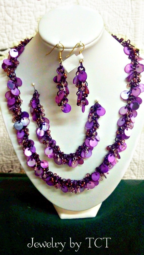 Purple Shaggy Loop Chain Maille Necklace, Earrings, Bracelet Set, Jewelry, Hand crafted, handmade, Etsy, finds, online, store, sale, great, gift for her, valentines day, valentines gift,