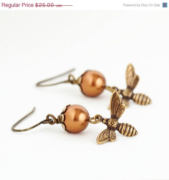 Sale - Pearl Honey Bee Earrings, Bronze Pearl Earrings, Etched Brass Bee, Nature Jewelry - JacarandaDesigns