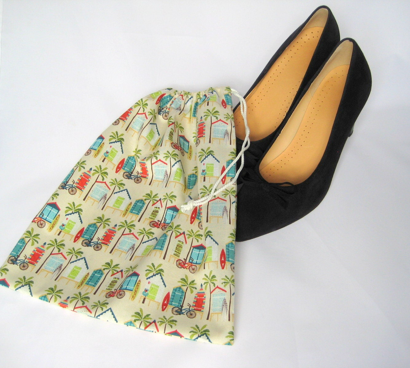 Drawstring Fabric Shoe Bag  Palm Tree and Beach Huts Print Shoe Storage Project BagCraft Bag