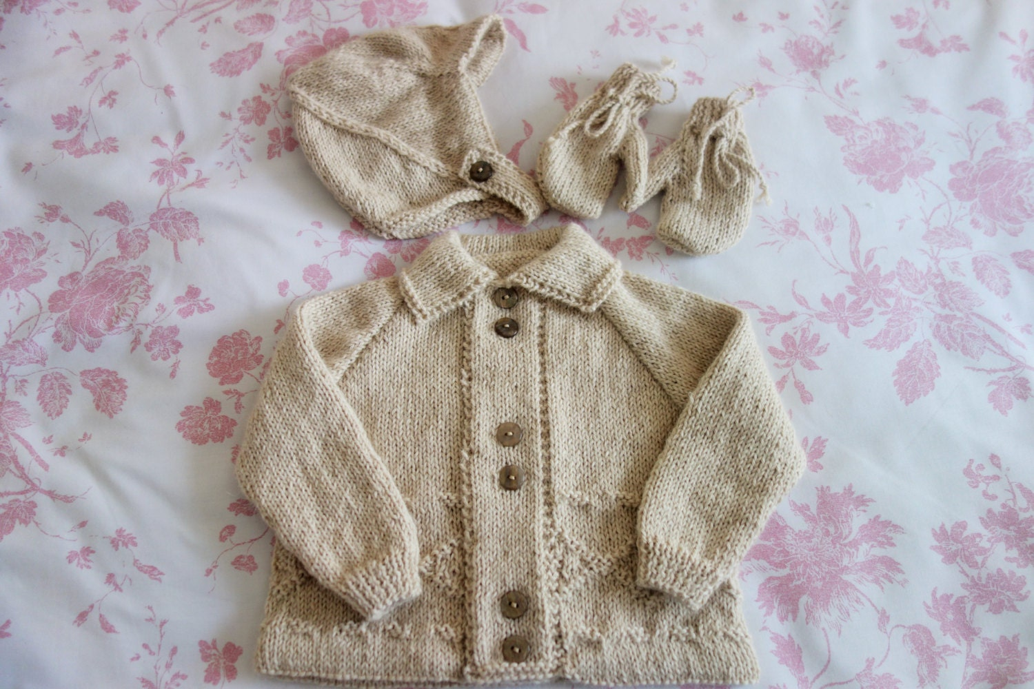 Hand knitted in 100 Pure Baby Alpaca babys sweaterjacketcoat hat and mittens to fit approx 69 months in light beige colour