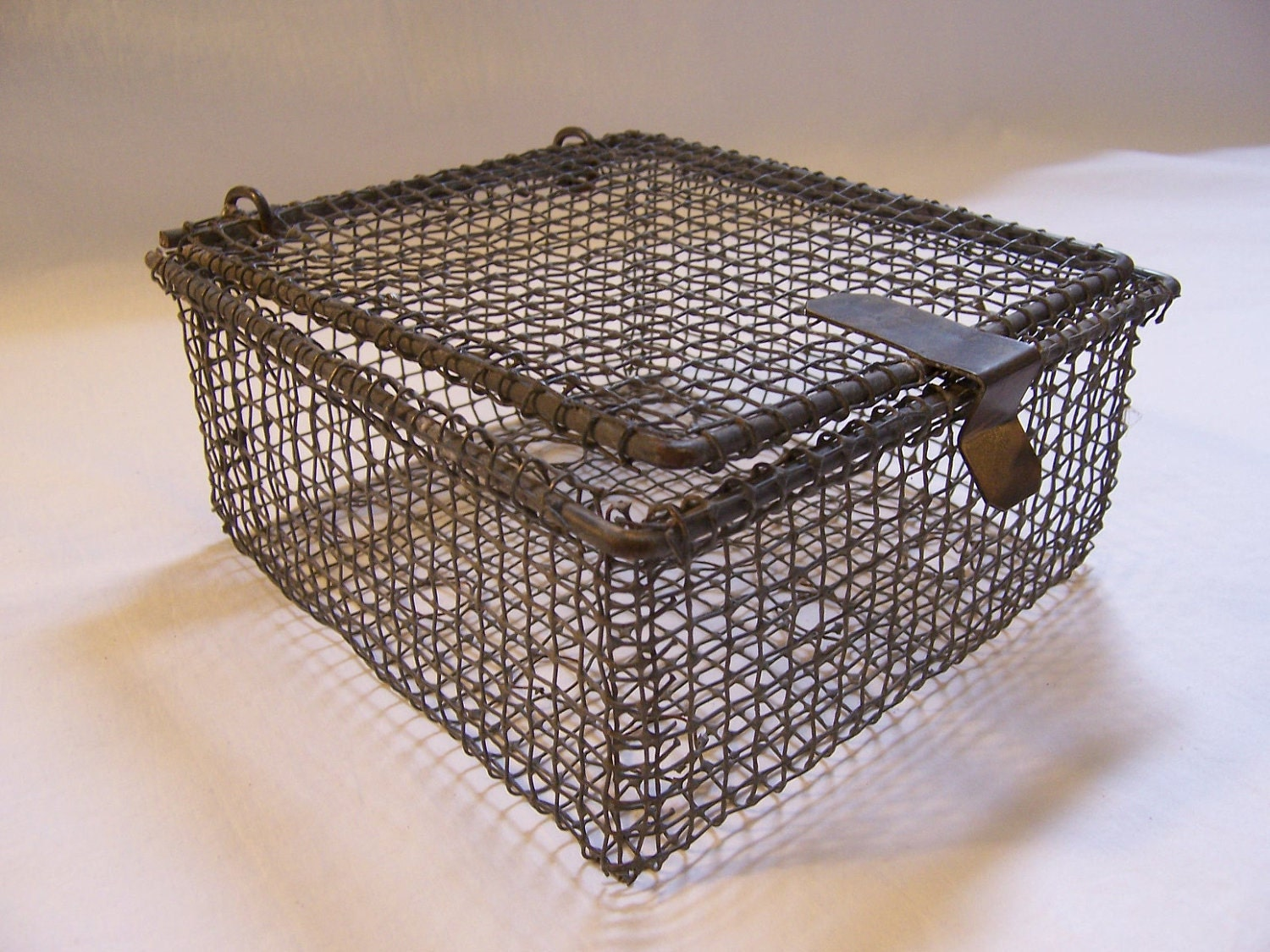 Small vintage wire basket with lid fishing basket by for Fish wire basket