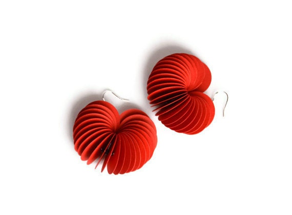 Poppy red: Dangle Earrings made of cardstock - PaperStatement