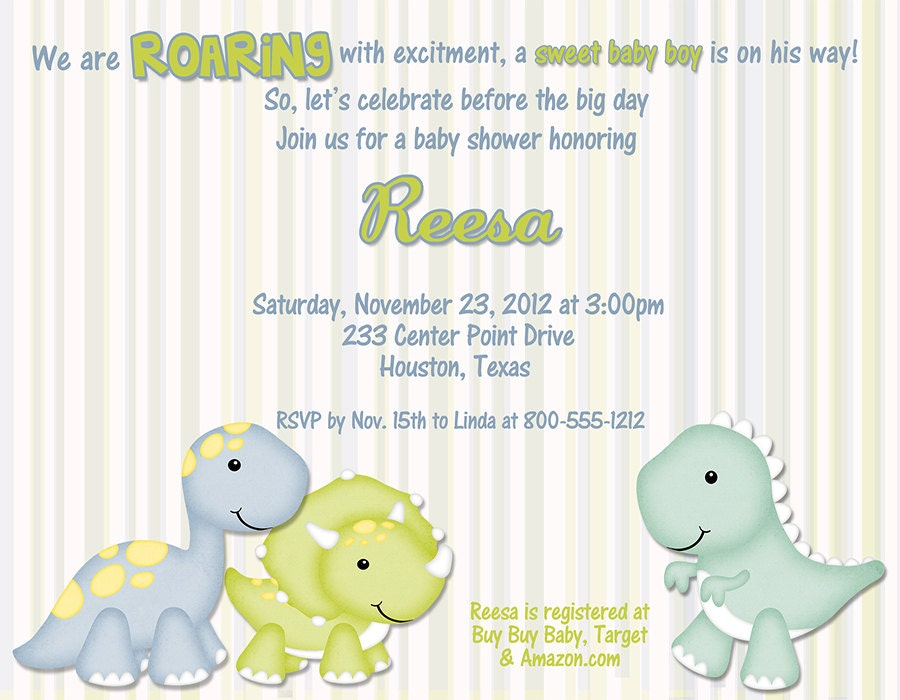 items similar to baby dino baby shower invitations qty 10 on etsy