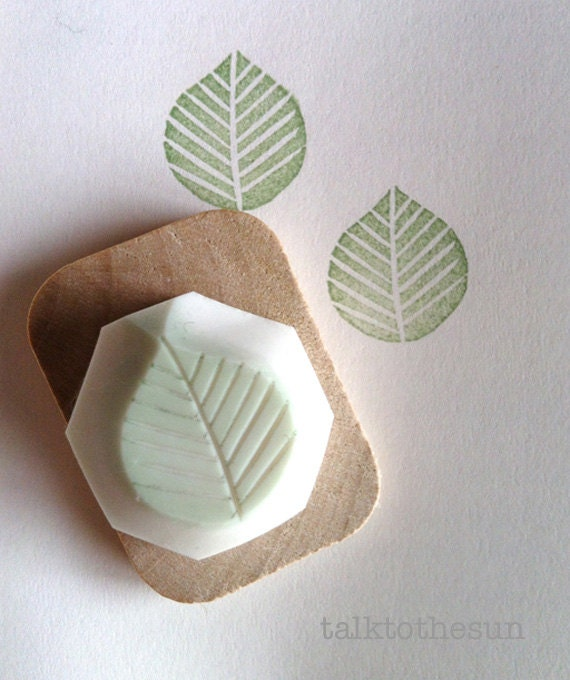 Leaf stamp hand carved rubber by