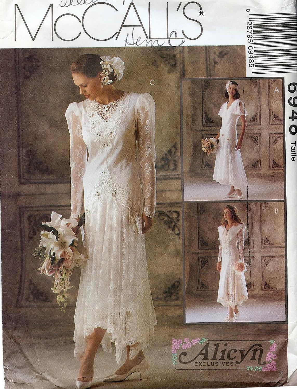 PATTERN McCalls 6948 Wedding Dress Uneven Skirt By Whitestarheart