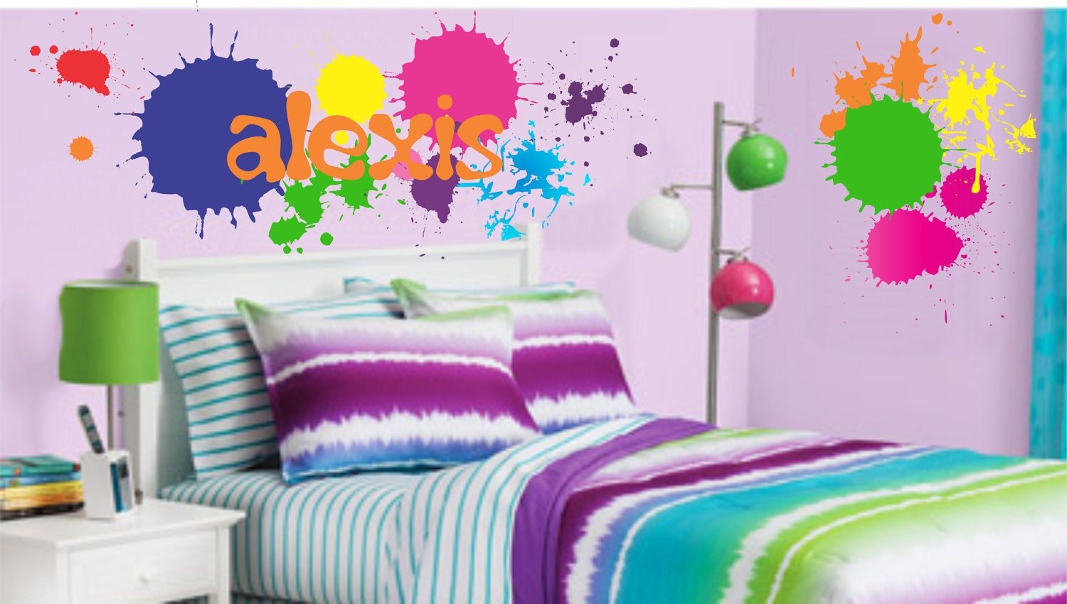 Teen boy girl name wall decal paint splatters by for Teen boy wall decor