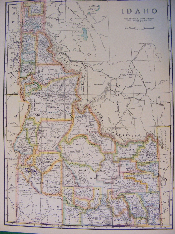 1923 Map Of Idaho And Washington State ID WA By WisconsinFound