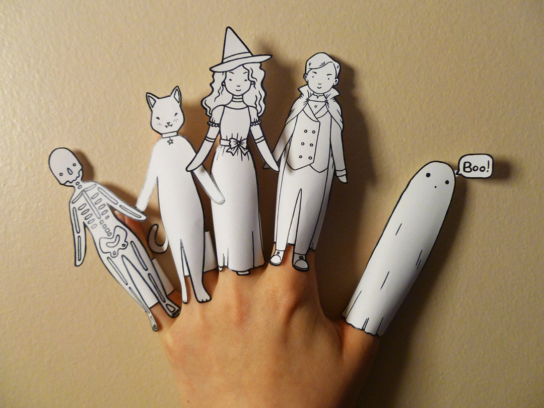 Colour Your Own Halloween Finger Puppets Printable Puppets Halloween Craft Halloween Activity Print Your Own Halloween Decorations