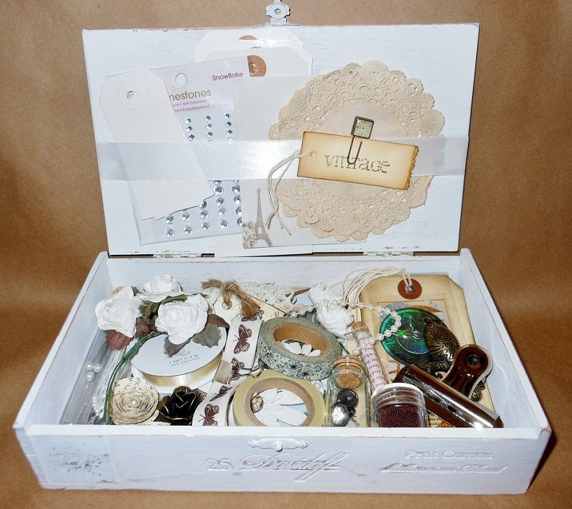 Vintage Embellishment Kit In White Distressed Cigar Box For Smash Book, Scrapbooking, Memoirs, Wedding - crystawilliamdesigns