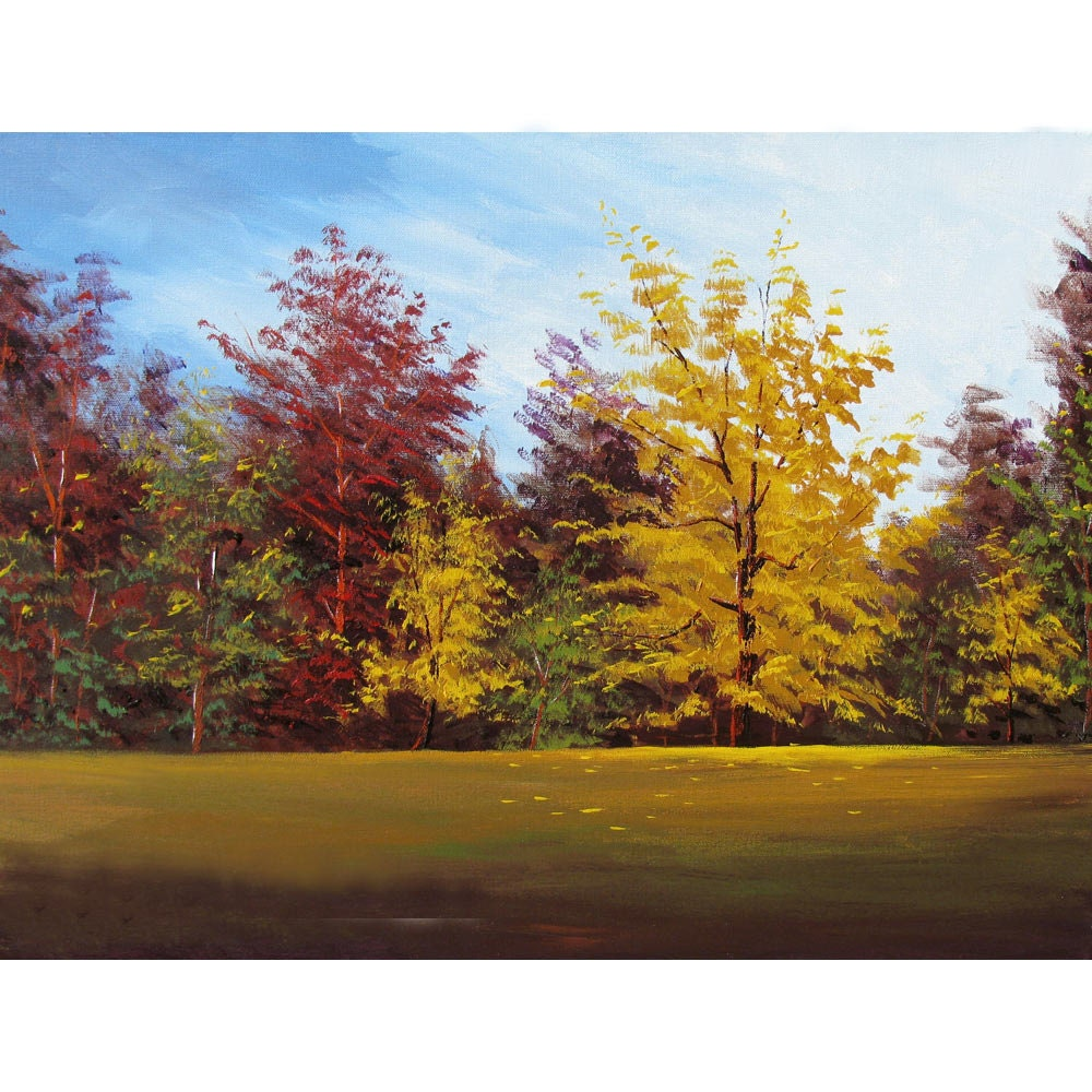 Fall Colors Acrylic Landscape Painting Original By