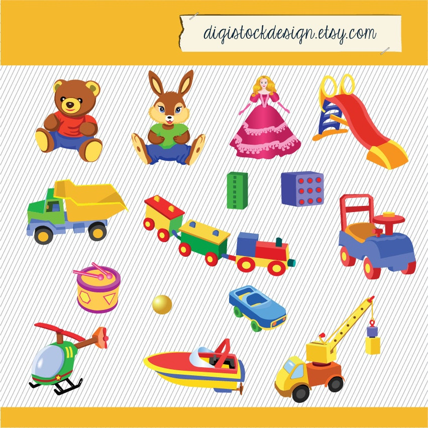 Toybox Clipart Toys clipart. kids clipart.