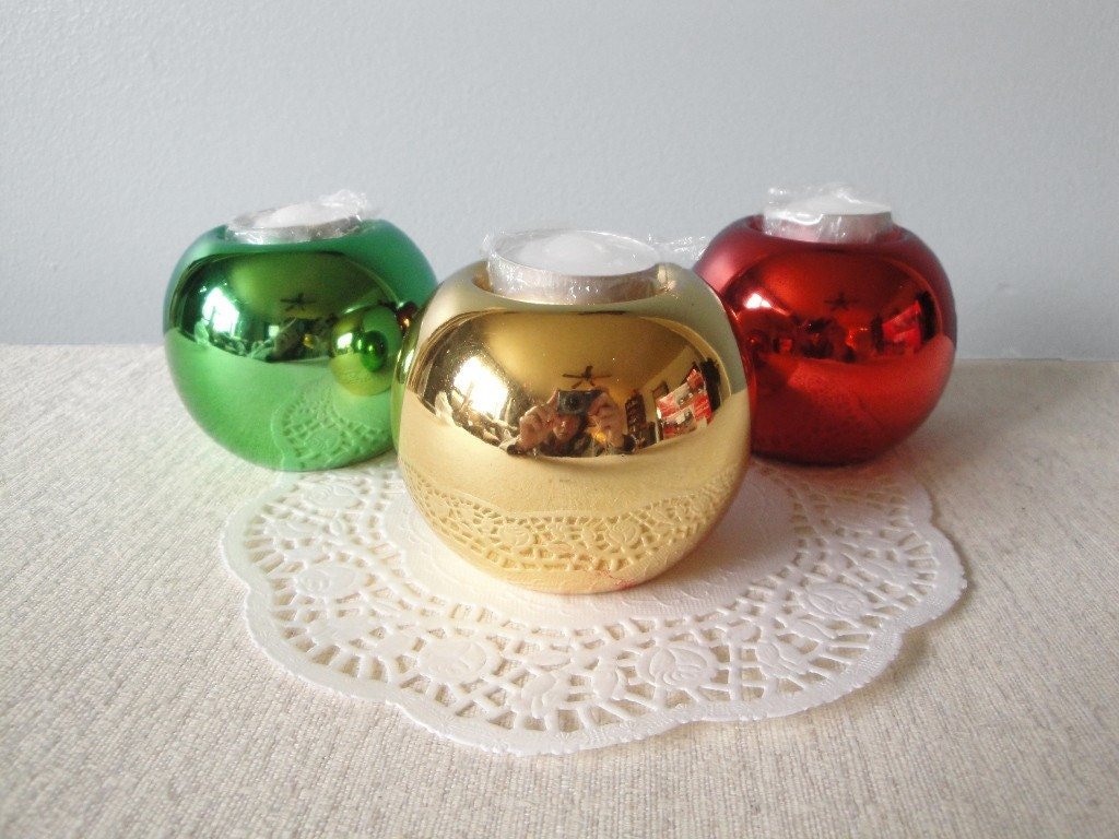Vintage Christmas Ball Candle Holders Tea By Flossystreasures