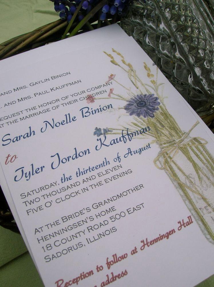 Wild Flowers in a Mason Jar Wedding Invitation Deposit