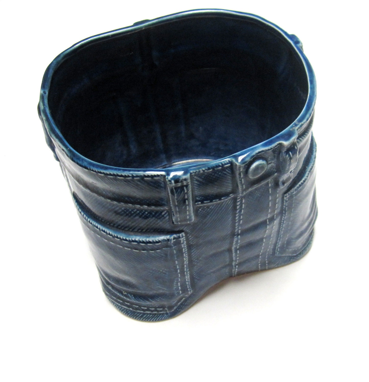 70s Mod Ceramic Blue Jean Planter Vase By Sweetie2sweetie