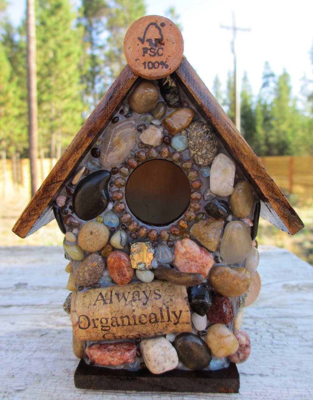 Organic Cork Birdhouse with Mosaic Stones