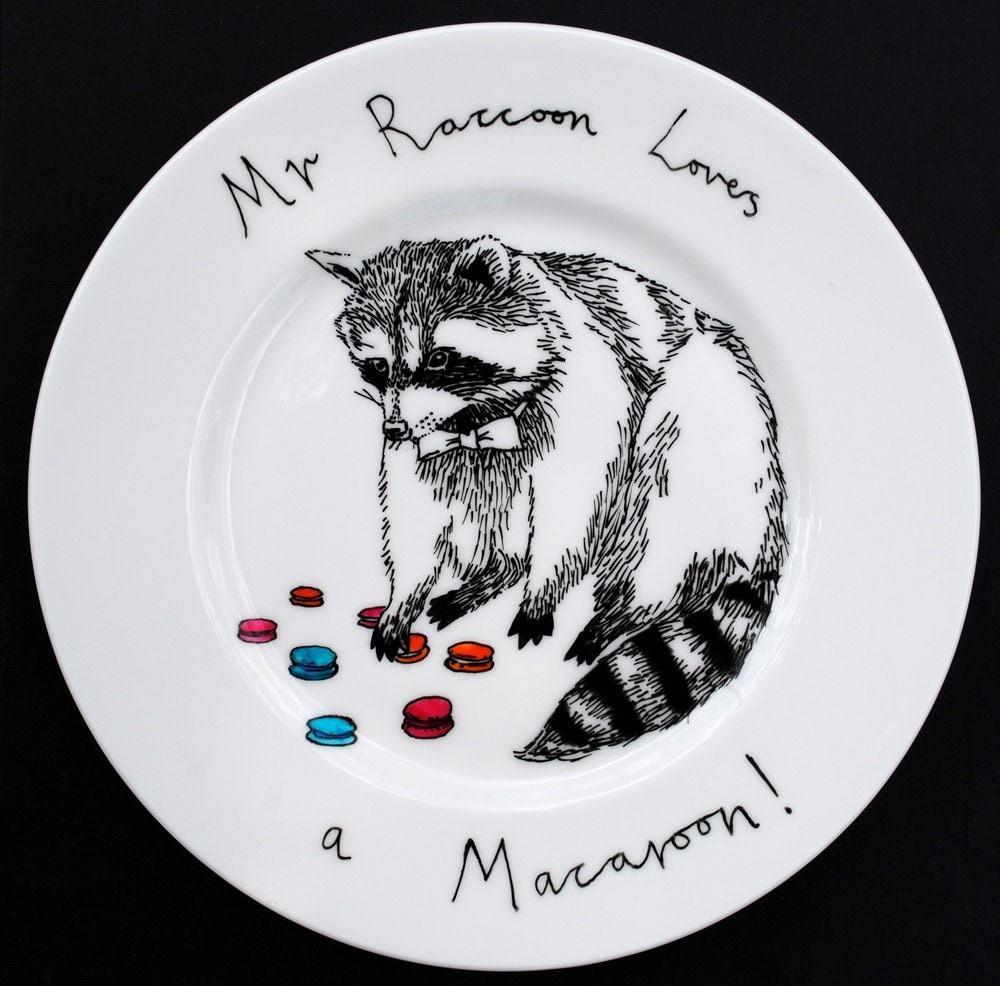 Hand Painted Side Plate - Mr Raccoon loves a Macaroon