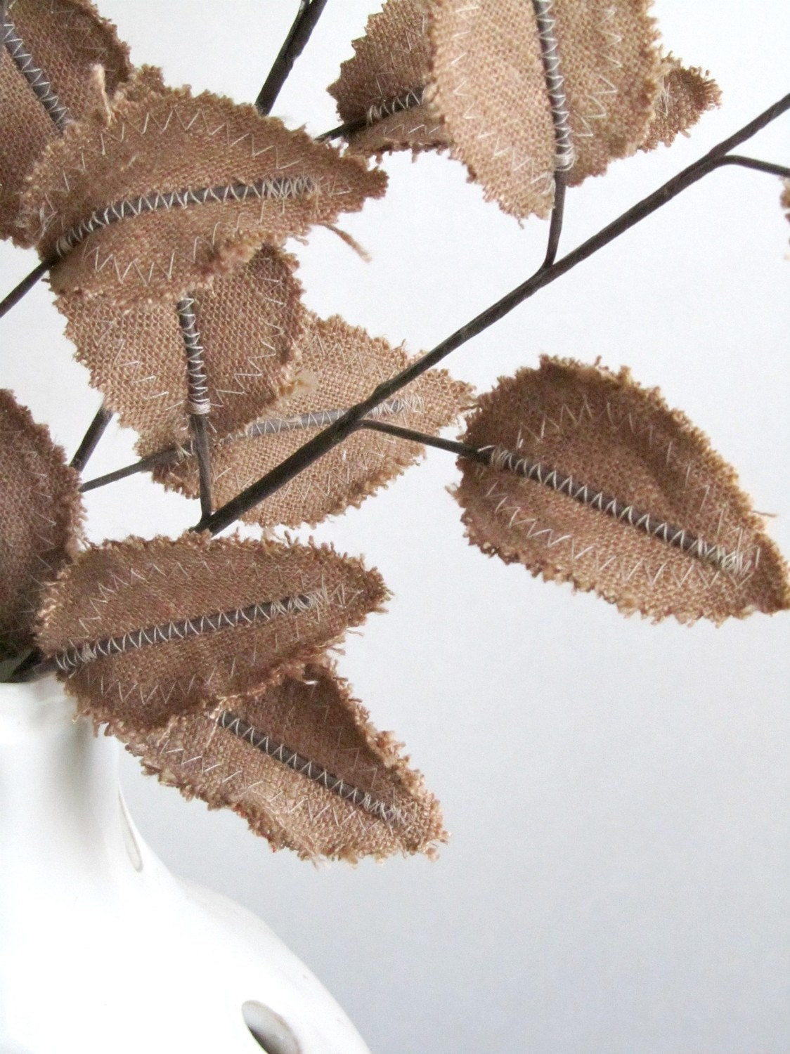 Fabric Leaves - Burlap Brown Linen Branches (set of 3) - janejoss