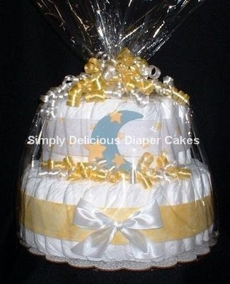 to sun moon and stars diaper cake baby shower decorations on etsy