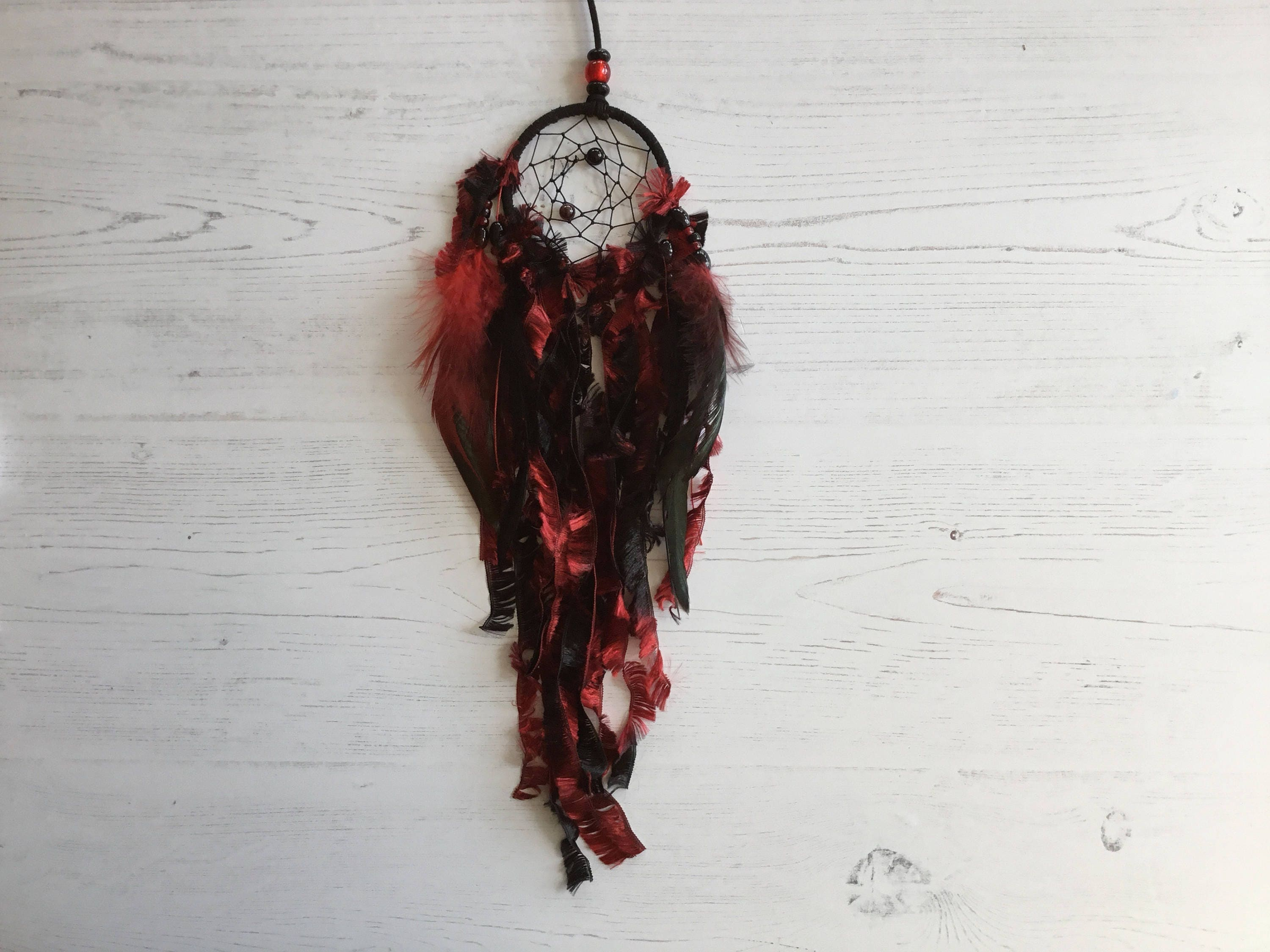 Small Black and Red Dreamcatcher  dream catcher small dream catcher small dreamcatcher black dream catcher