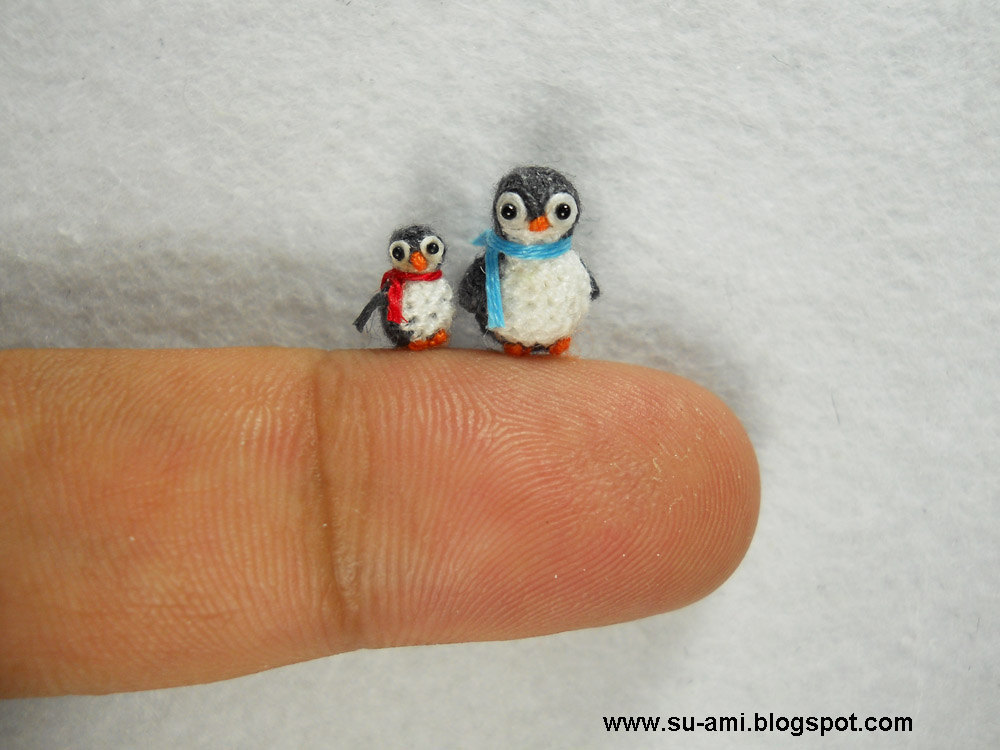 Micro Penguins - Dollhouse Miniature Birds - Set of Two Penguin Chicks - Mom and Daughter - Made To Order