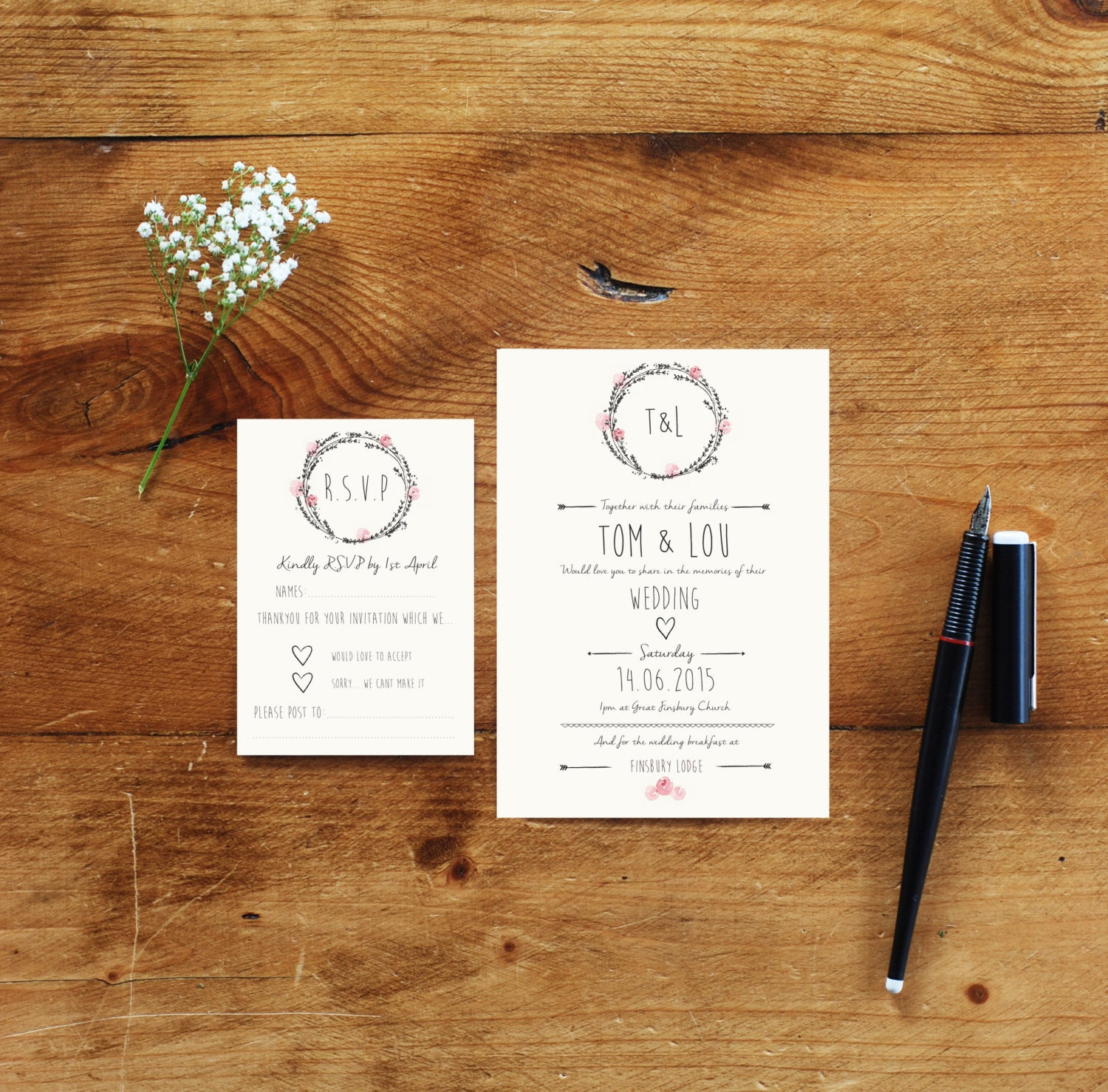 Image of 100 Wedding Invitations and RSVP bundle