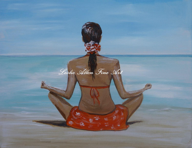 """Woman Giclee Art Print Girl Meditating Calming Water Ocean Wall Art  Beach Seascape Landscape """"Staying Calm"""" Artist Leslie Allen Fine Art - LeslieAllenFineArt"""