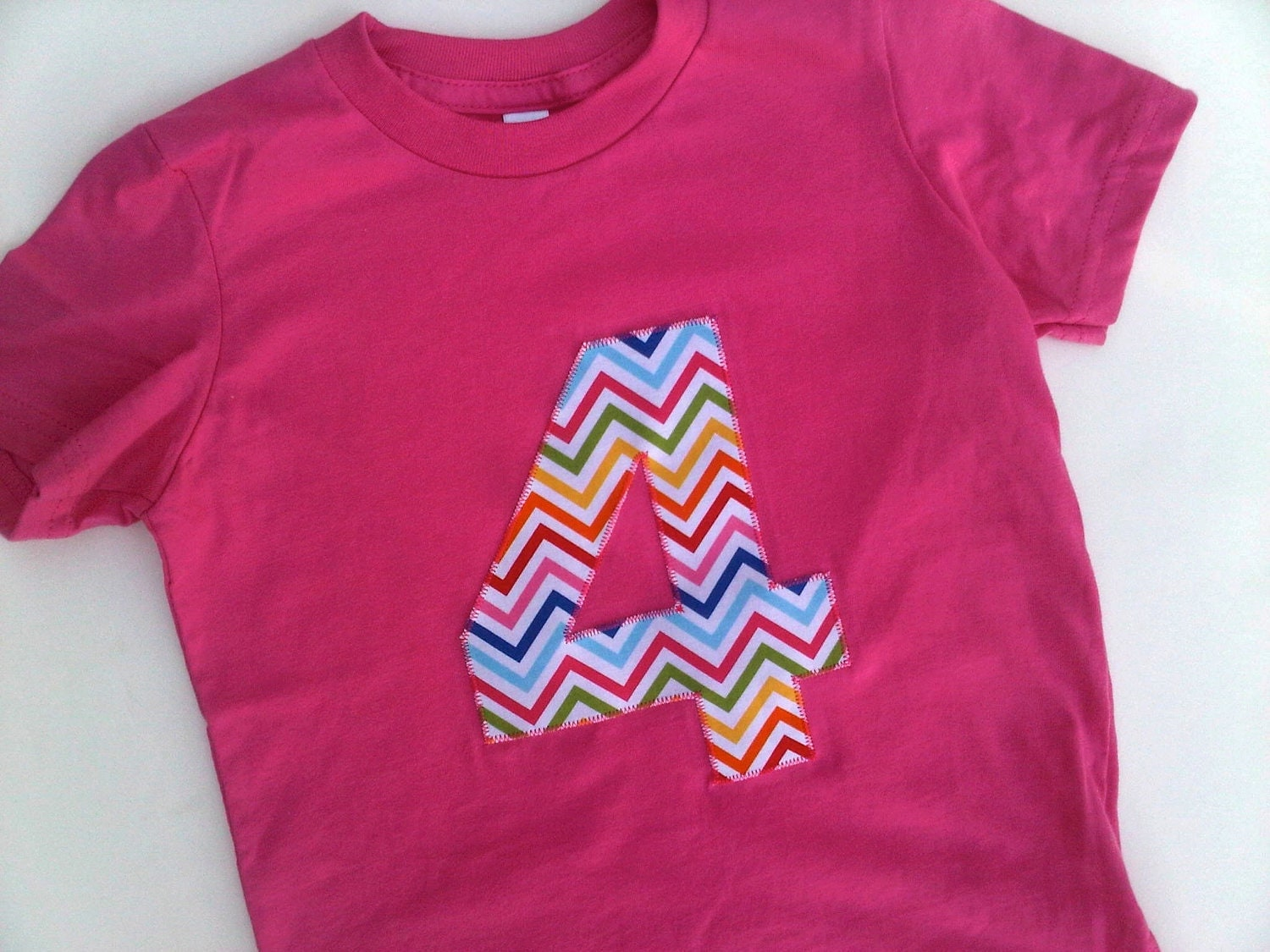 Chevron Pink Blue Green Gold Stripes Pick your fabric Custom Birthday Shirt