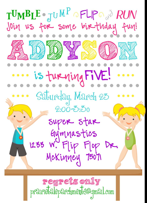 Flip Flop Gymnastics Party Invitation by PrairieTaleDesigns