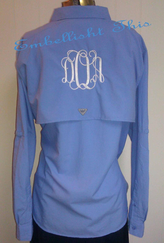 Monogrammed preppy columbia pfg fishing shirt by for Monogrammed fishing shirts