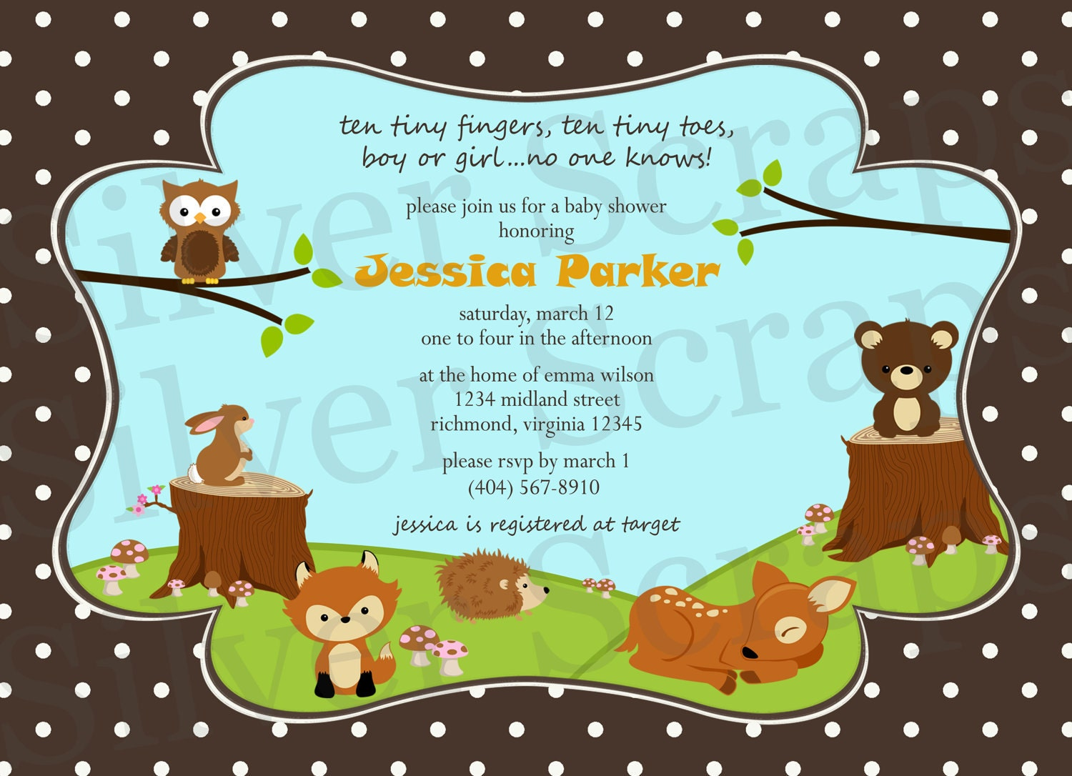 woodland forest animals custom baby shower or birthday invitation